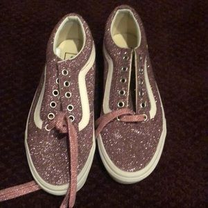 Sparkly pink vans sneakers